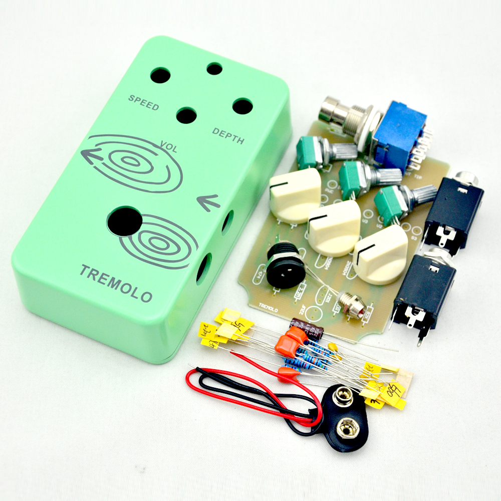 DIY Tremolo Effect pedal kits With 1590B pre-drilled And 9 PIN 3PDT Foot Switches true bypass все цены
