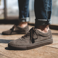 Maden Suede Men Sneakers Khaki Dark Grey Split Leather Shoes Sporty Low top Casual England Style All matching Non slip Lace up