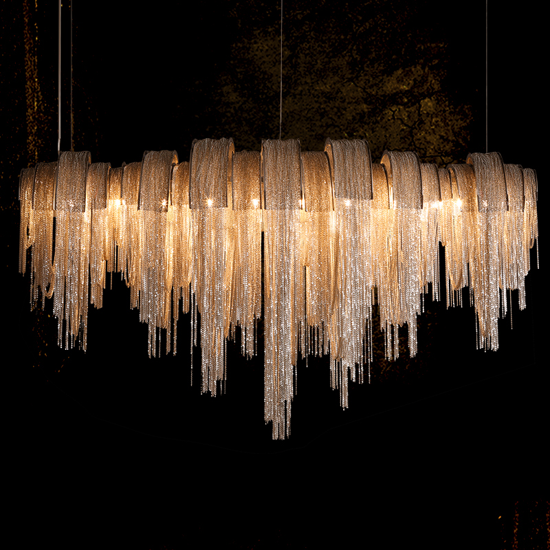 Fringed Pendant Lamp Aluminium Chain LED Pendant Light Post-modern Atlantis Pendant Lighting Stainless Steel Lamp Body Rustless