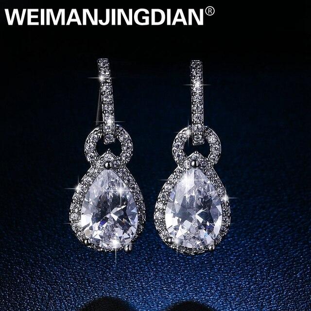 Weimdian Brand High Quality Teardrop Cubic Zirconia Dangle Chandelier Earrings For Women In White Gold