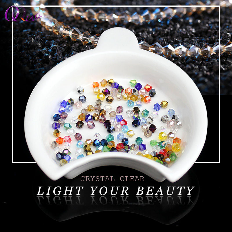 Mixed color top quality 3-6mm 100pcs/lot jewelry beads bicone beads plated AB AB