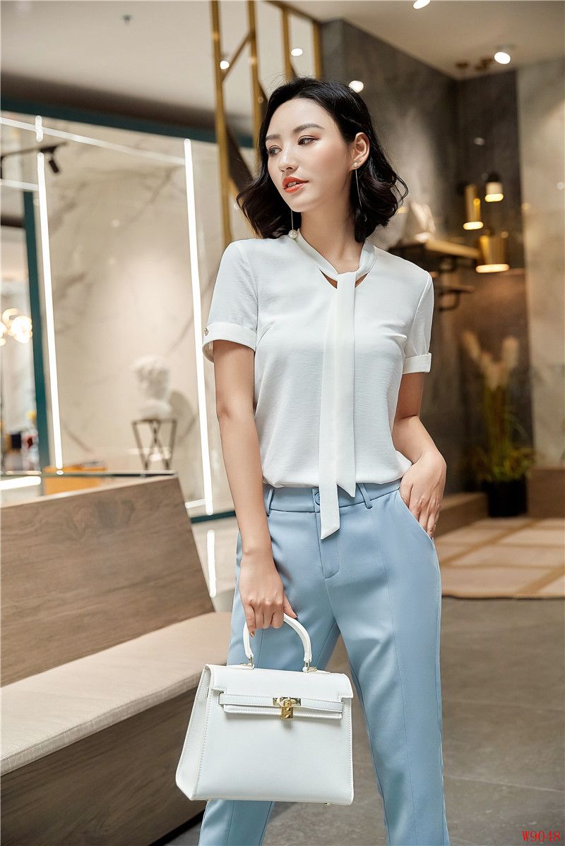 Uniform Designs 2018 Summer Fashion Two Pieces With Tops And Pants For Ladies Office Blouse Shirts Pantsuits Pants Sets