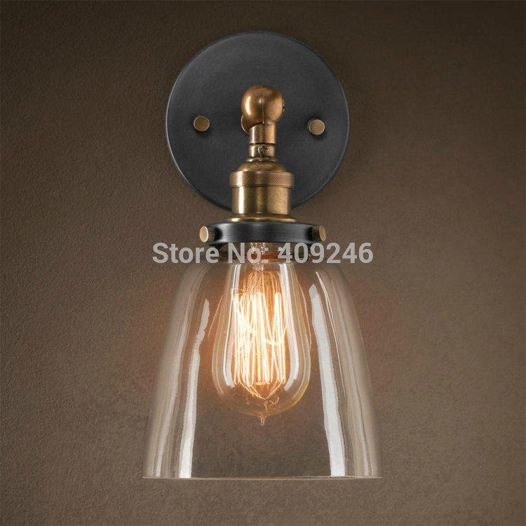ФОТО Clear Glass LOFT RARE Vintage Industrial Edison Wall Mirror Lamp Light Black Paint Gold Bedside Hall Cafe Bar Coffee Shop Club