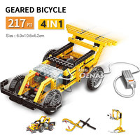 4in1 Geared Bicycle Street Sweeper Power Mechanical Engineer Technic Building bricks Blocks kids Toys fit legoing children gift