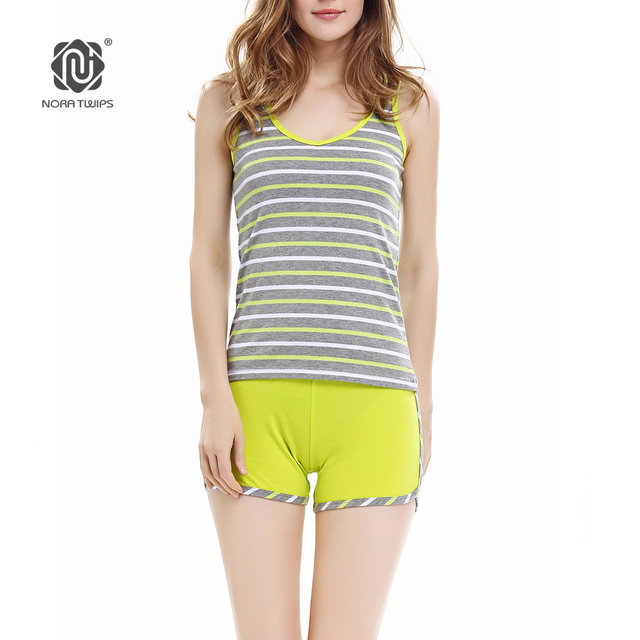 462a75613169 NORA TWIPS Women Short Sexy Pajamas Tank and Camisole Cami Set Summer Home  Furnishing Clothing Cotton Nightwear Suit Sleepwear
