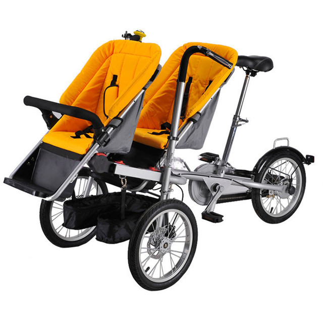 Twins Mother Baby Bike Stroller 2 Babies Stroller Bicycle Bike ...