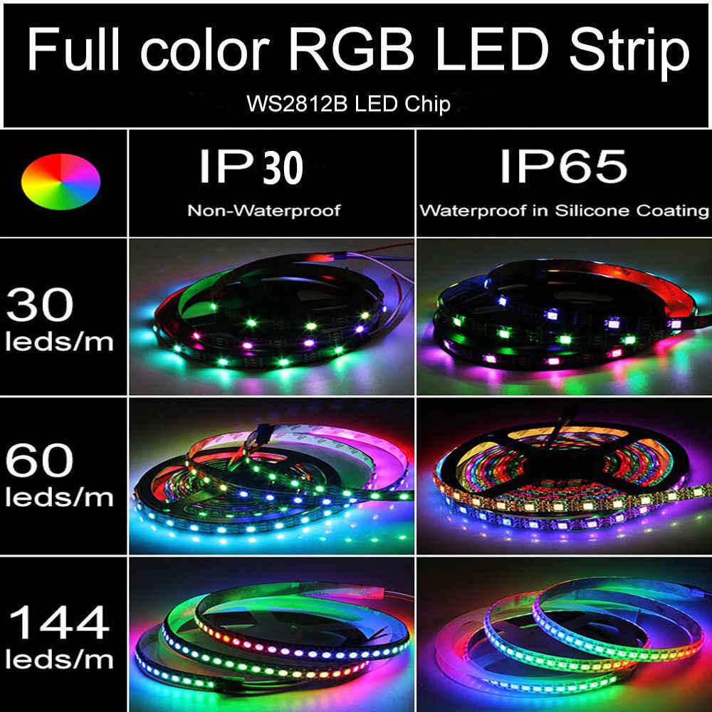 WS2812B taśma LED WS2812 IC 5V 30/60/144 diody LED indywidualnie adresowalny kolor marzeń RGB inteligentna dioda LED piksele pasek taśma ciąg 1m 5m