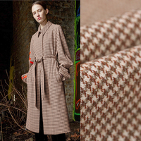 140CM Wide 380G M Weight Tiny Brown Check Thin Wool Fabric For Winter And Autumn Dress