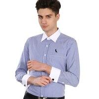DUDALLINA Luxury French cuff Button Dress Shirt New Fashion Non Iron Long Sleeve slim striped High Quality Business formal Shirt