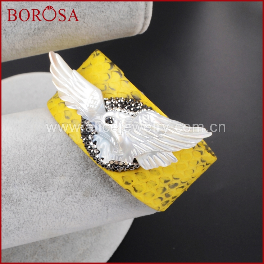BOROSA new white shell carved eagle bangle, yellow snakeskin handcrafted rhinestone pave soft cuff bangle for women JAB511