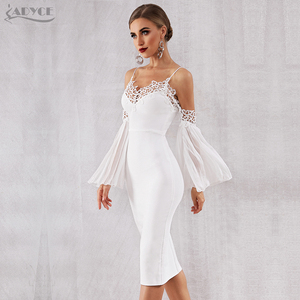 Image 5 - Adyce 2020 새로운 가을 여성 붕대 드레스 섹시 플레어 슬리브 화이트 레이스 미디 드레스 vestidos 우아한 연예인 이브닝 드레스