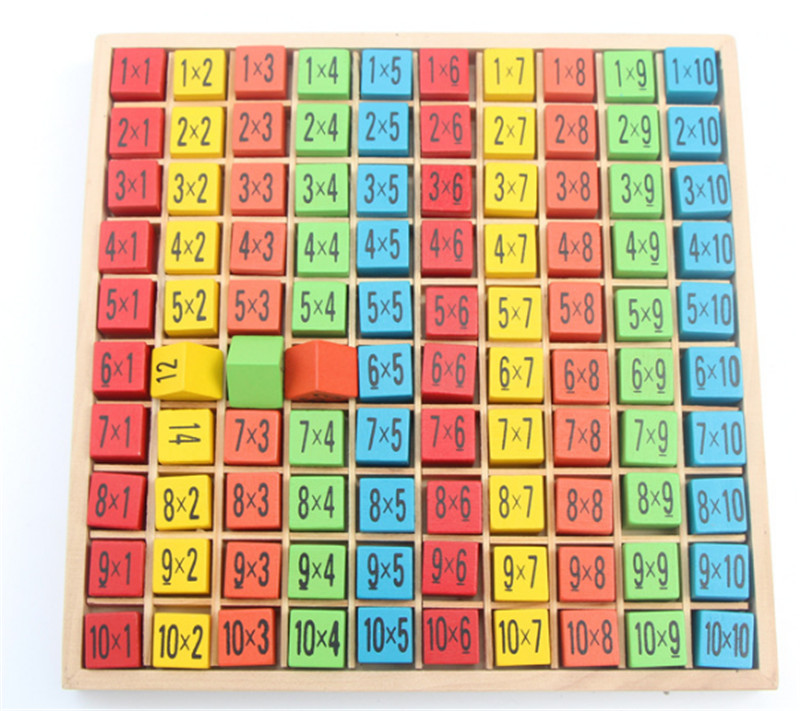 New Wooden Baby Toys 10x10  Multiplication table wooden children educational toys early childhood math board operation
