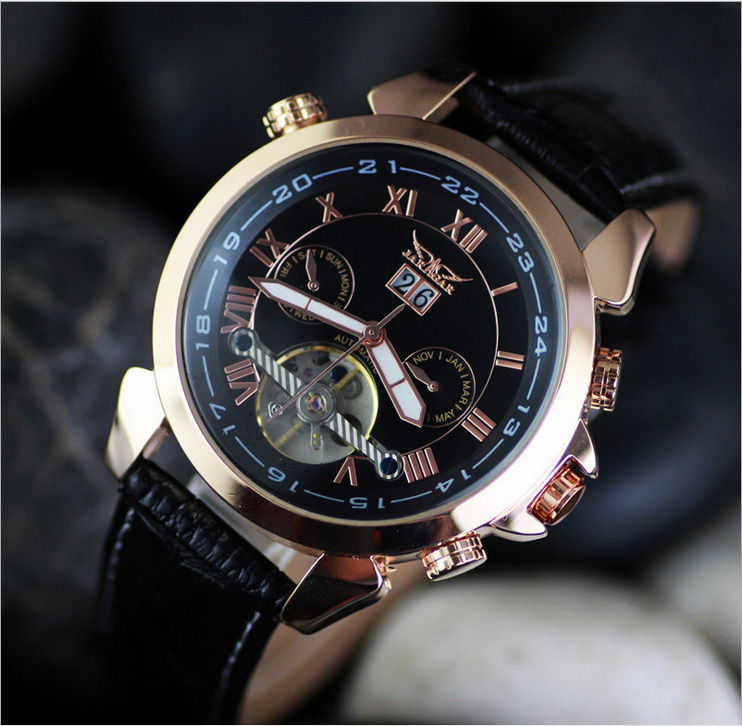 2015 New Arrival Luxury Date Month Week Hour Dial Automatic Mechanical Leather Black Band Mens Wrist Watch Best Gifts M110