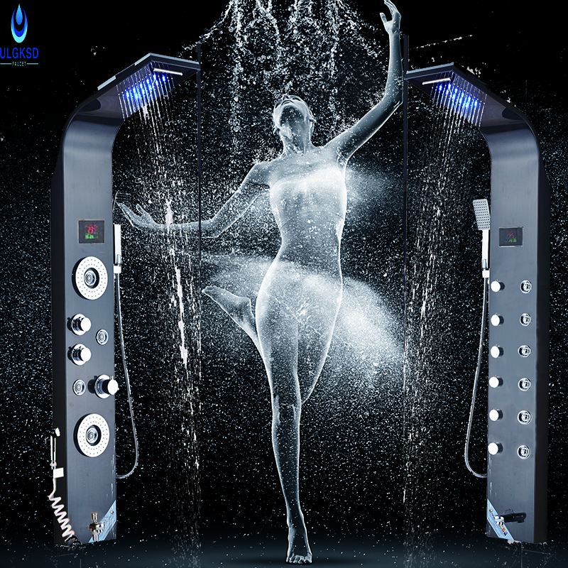 Ulgksd LED Change Bathroom Shower Faucet Waterfall Rain Shower Jets Shower Panel Tub Spout With Massage Mixer Tap ouboni new arrival bathroom rainfall shower panel rain massage system faucet with jets hand shower bathroom faucet tap mixer
