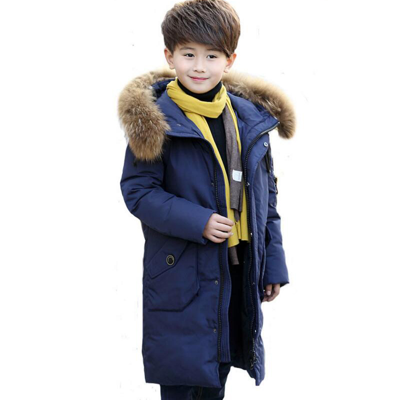 boys Down Jacket big Authentic Winter boy white down Coat Thicken Overcoat Kids Outerwear Parkas Hooded 6-15age -10-30 degree a15 girls down jacket 2017 new cold winter thick fur hooded long parkas big girl down jakcet coat teens outerwear overcoat 12 14