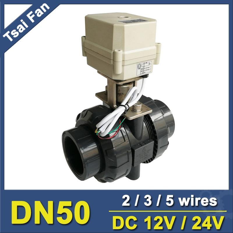 TF50 P2 C DC12V 24V 2 3 5 Wires BSP NPT 2 PVC 2 Way DN50
