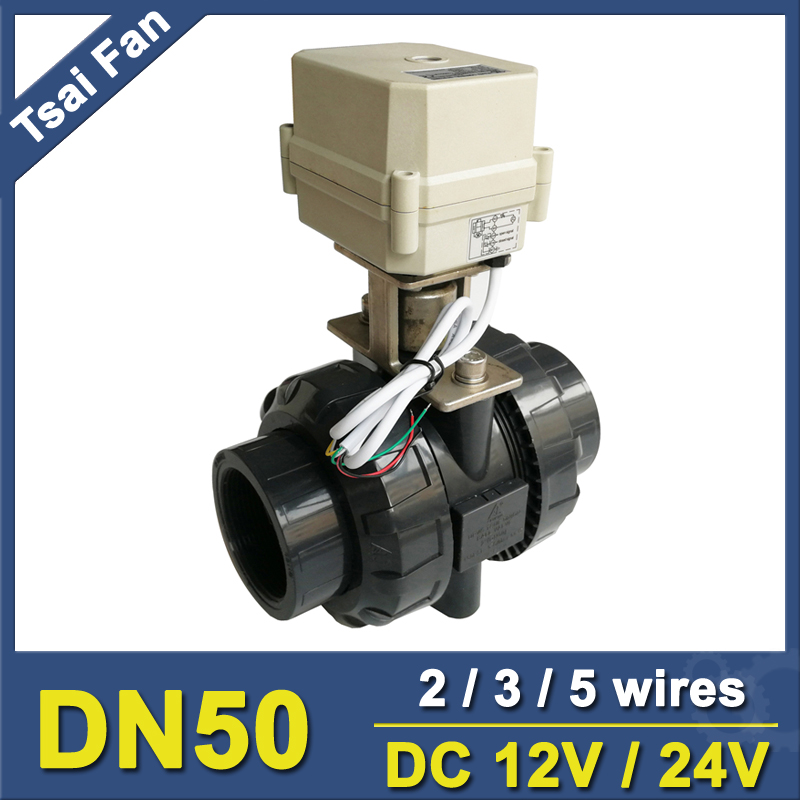TF50-P2-C, 12V, 24V 2/3/5 Wires BSP/NPT 2'' PVC 2 Way DN50 UPVC Actuator Valve 10NM On/Off 15 Sec Metal Gear For Water Treatment 2 way pvc dn15 motorized ball valve bsp npt 1 2 dc12v 3 wires 10nm electric ball valve on off 15 sec metal gear ce