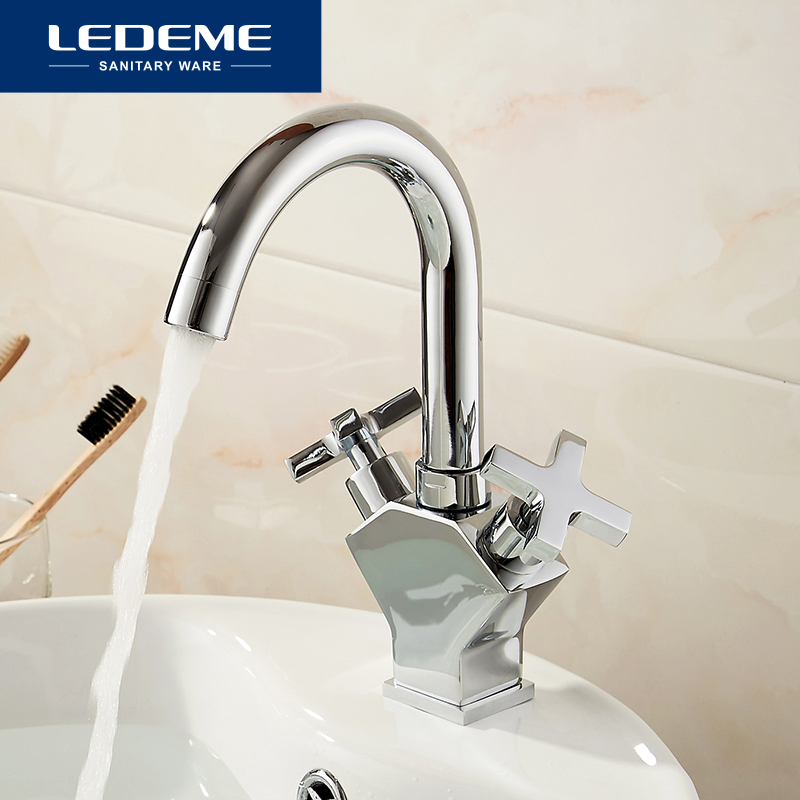 LEDEME Basin Faucets Bathroom Waterfall Faucet Chrome Plated Dual Handle Brass Basin Mixer High Quality L1084-2