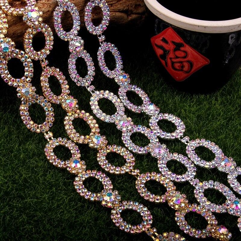 Darmowa wysyłka 5 jardów łańcuszek z kryształów górskich Bridal Sash Rhinestone aplikacja, aplikacja ślubna, przycinanie Rhinestone LSRT081 w Kryształy górskie od Dom i ogród na  Grupa 1