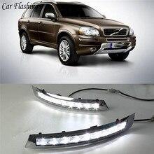 Carro piscando 1 par drl de condução diurna luzes running luz do dia transformar a luz para volvo xc90 2007 2008 2009 2010 2011 2012 2013