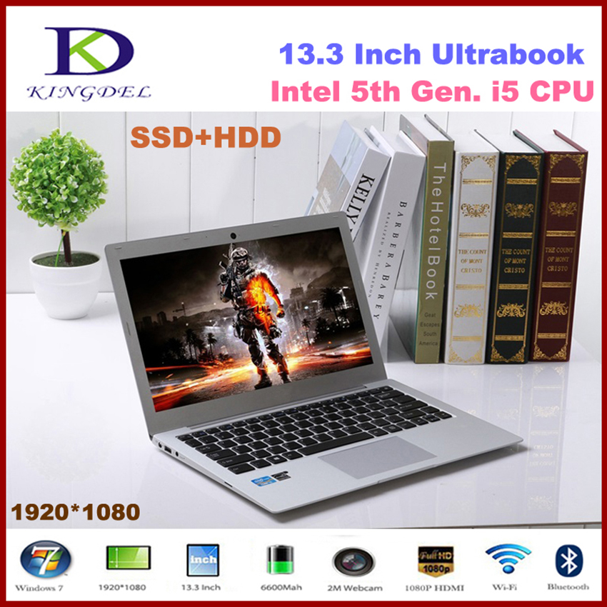 Ultra Thin 13.3 inch Laptop Intel i5 5th Gen CPU Notebook with 8GB RAM 128GB SSD 1TB HDD,8 Cell Battery,Full Metal Case bben 15 6inch laptop window10 intel i5 6300hq cpu 4cores fhd notebook 8gb ddr3l ram 128gb ssd m 2 500gb hdd
