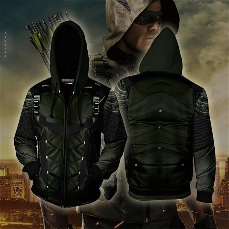 Xijun Marvel The Avengers 4 Endgame Green Arrow 3D Printed Hoodies Men Hooded Avengers Zipper Jackets man hooded Sweatshirts