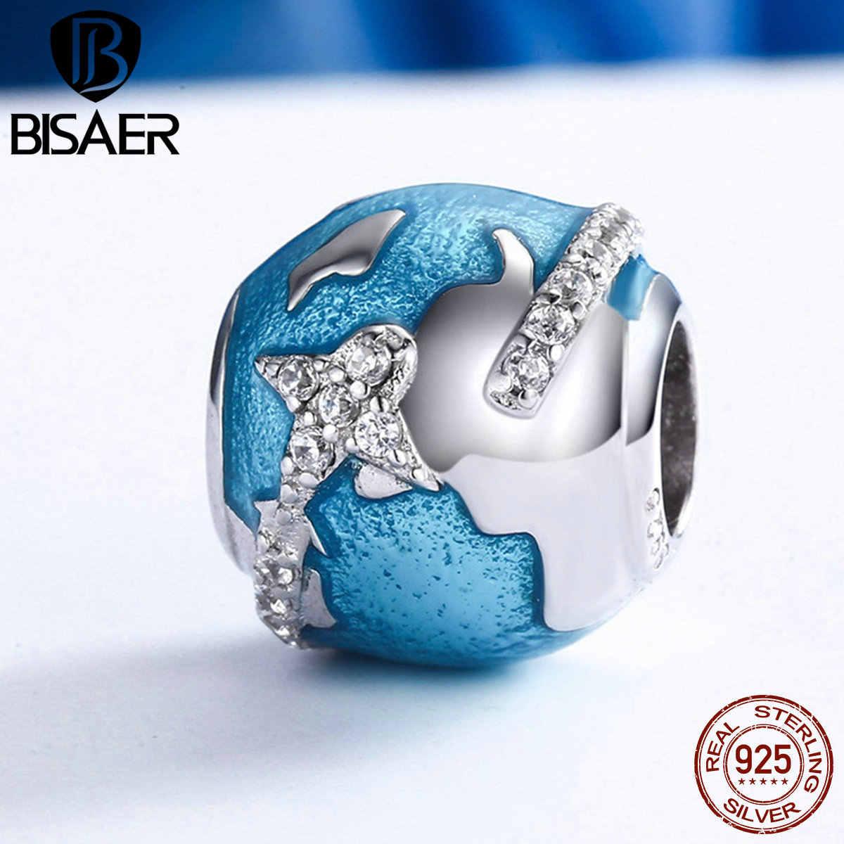 BISAER Plata de Ley 925 auténtica mundo de viaje encantos planeta estrella Luna borla pulseras de dijes con encaje de cuentas plata 925 joyería ECC183