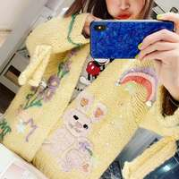 2019 прямые продажи полный свитер пончо зима новый тяжелый ручной работы кролик вышивка женский свитер кардиган милый Сен вязать Девушка