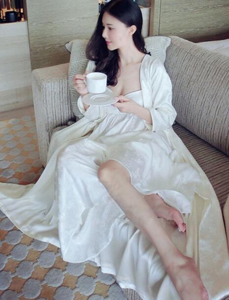 Silk Pajamas Women's Princess Two-Piece Set Nightgown Robe Suits Lady Jacquard Sleepwear Nightdress Nightwear