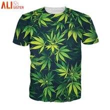 Alisister Weed Leaf camiseta verano manga corta hombres mujeres 3d Camisetas divertidas Streetwear Camisetas Homme De marca