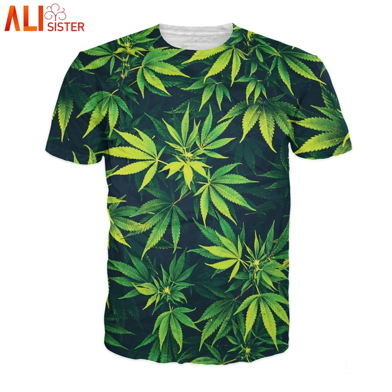 Alisister Weed Leaf   T     Shirt   Summer Short Sleeve Men Women 3d   T  -  shirts   Funny Streetwear Camisetas Tee   Shirt   Homme De Marque