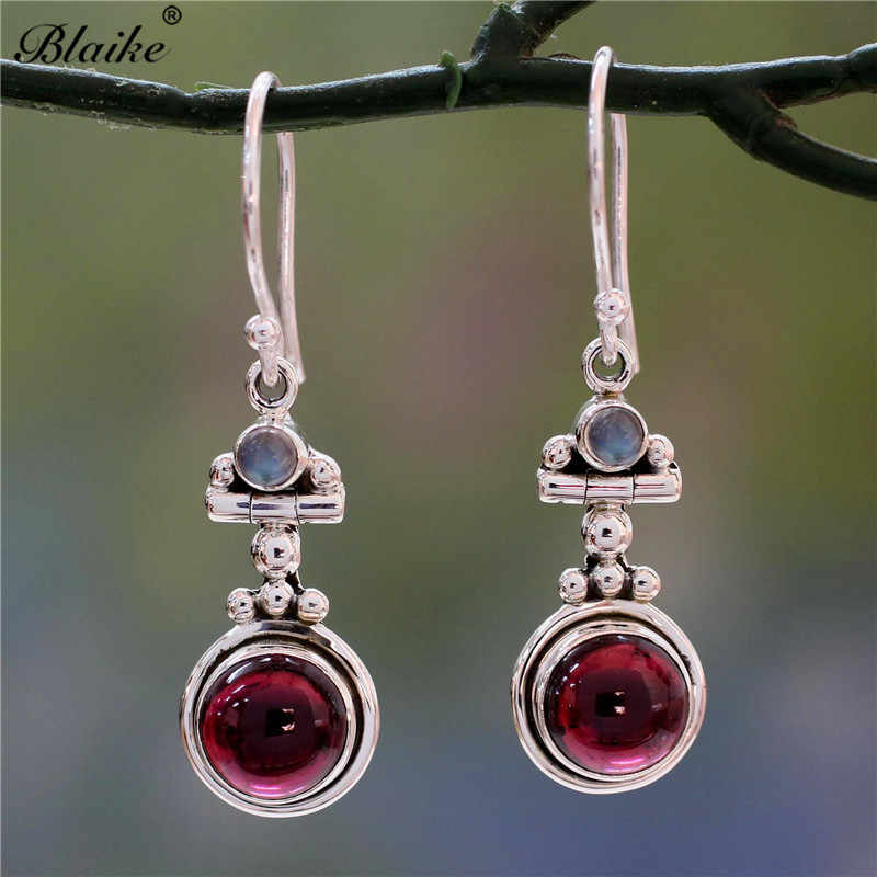 Blaike Natural Moon Stone Long Earrings Red Birthstone Wedding Dangle Earring Fashion Silver Filled Hook Earing Jewelry Gifts