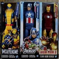 The Avengers 5 Captain America Wolverine Spiderman Marvel Iron Man Action Figures 12 30CM PVC Superhero
