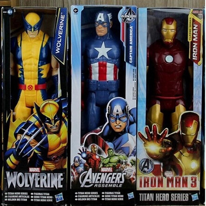 The Avengers  Captain America Wolverine Spiderman Marvel Iron Man The Flash Action Figures 30CM Thor PVC Superhero IronMan Toy captain america 12in 1pcs set pvc figures the avenger marvel captain america action anime figures kids gifts toys
