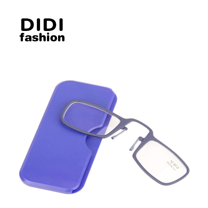 DIDI New Titanium Mini Reading Glasses Clip Nose Presbyopic Glasses With Box Wallet Prescription Eyewear Degree 1.0 To 3.5 U607