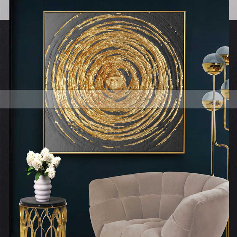 2f1e566966b Handmade 1 piece golden Circles modern contemporary abstract oil painting  on canvas wall art pictures for