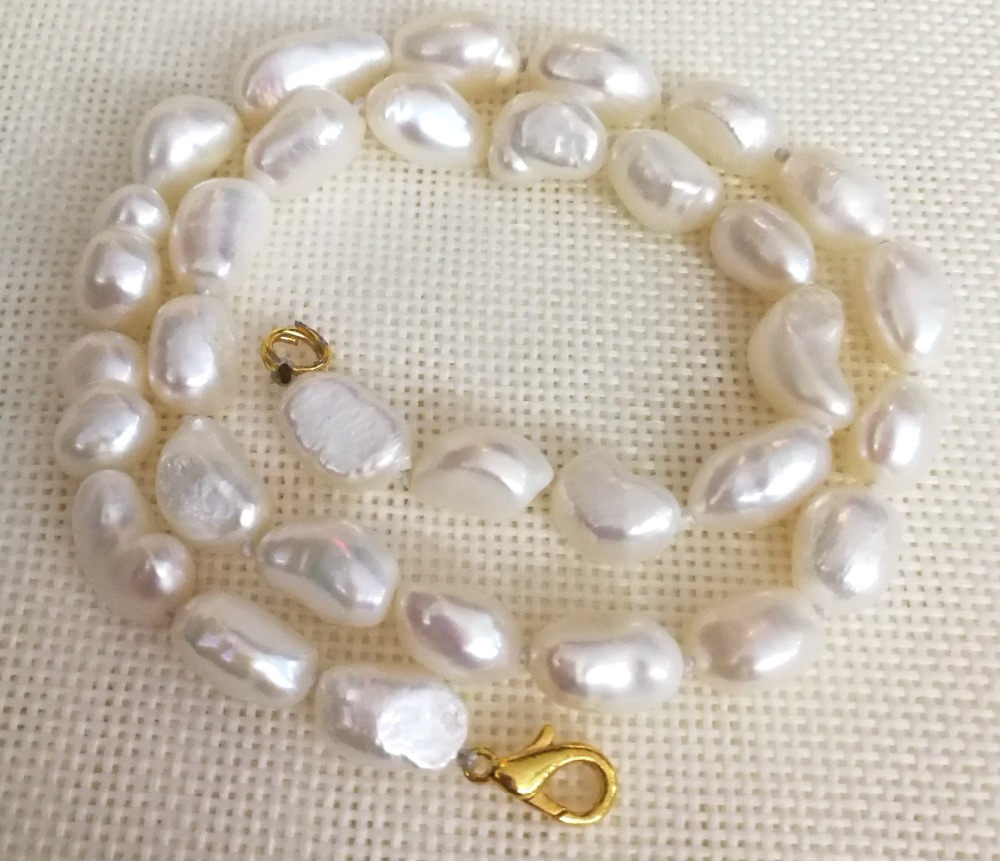 Women Jewelry 9x10mm White pearl baroque beads handmade necklace gold color clasp real Natural freshwater pearl gift 42cm 17""