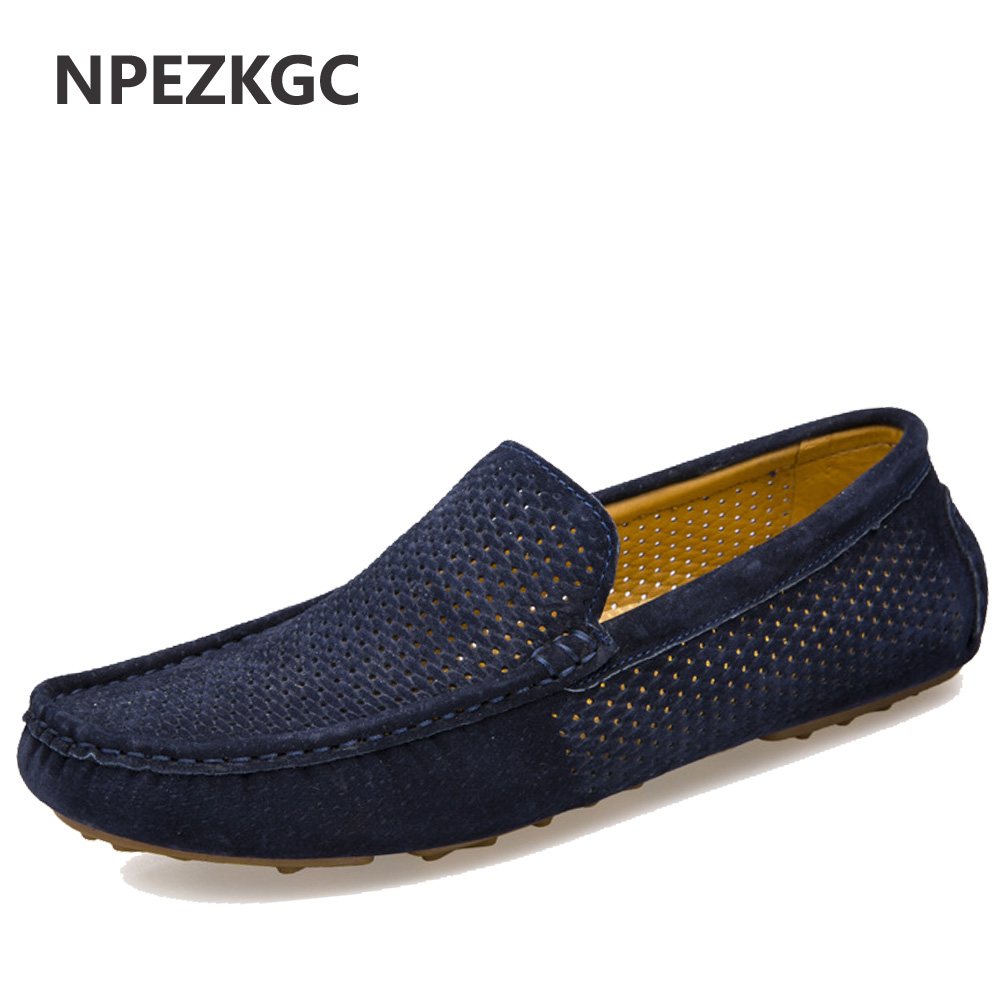 NPEZKGC New Men Loafers Casual Summer Shoes Fashion Genuine Leather Slip On Driving Shoes Soft Moccasins Holes Comfort Light Men