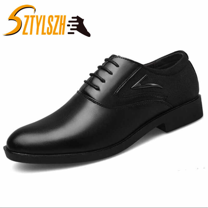 Big Size 38-48 Oxfords Leather Men Shoes Fashion Casual Pointed Top Formal Business Male Wedding Dress Flats cheep Wholesales