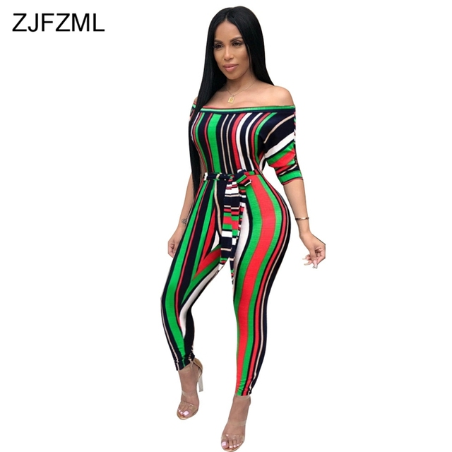 86566f13e25 ZJFZML Colorful Striped Sexy Jumpsuit Women Slash Neck Short Sleeve Bodycon  Romper Summer Off The Shoulder Sashes Party Catsuits