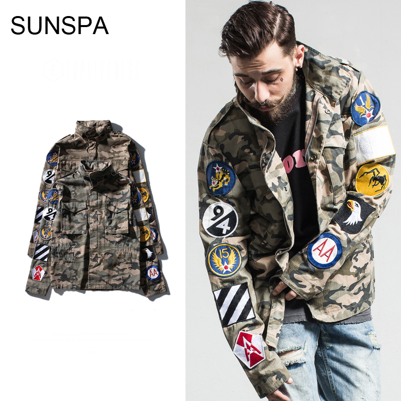 SUNSPA brand clothing 2017 autumn and winter new jacket men's military fans camouflage embroidery armbands men's thin jacket