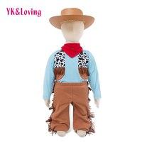 Cowboys Infant Baby Boy Romper Clothing Sets Long Sleeve Jumpsuit Pant Scarf 3Pcs Tassel Boys Leisure