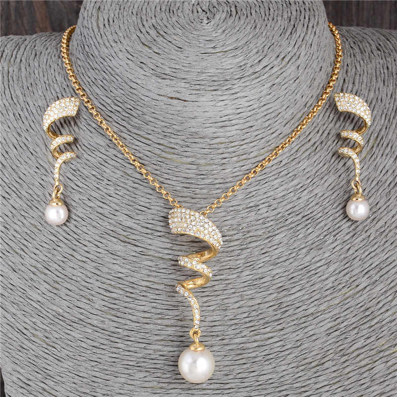 Classic Imitation Pearl necklace Gold  jewelry set for women Clear Crystal Elegant Party Fashion Costume Christmas Gift