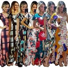Print Elegant Mermaid Dress Women Front High Split Cut Out Bandage Long Dress Vintage Off Shoulder Party Beach Dress2019 недорого