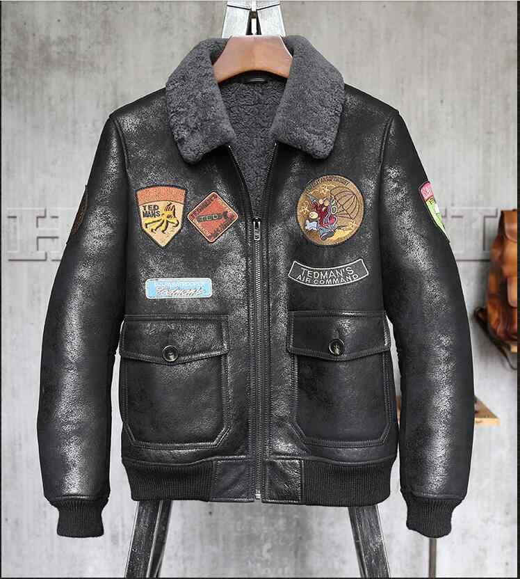 ee34ce994286 Высокое качество Для мужчин из натуральной кожи зимняя куртка Для Мужчин s  Дубленки пилот кожаная куртка зимние