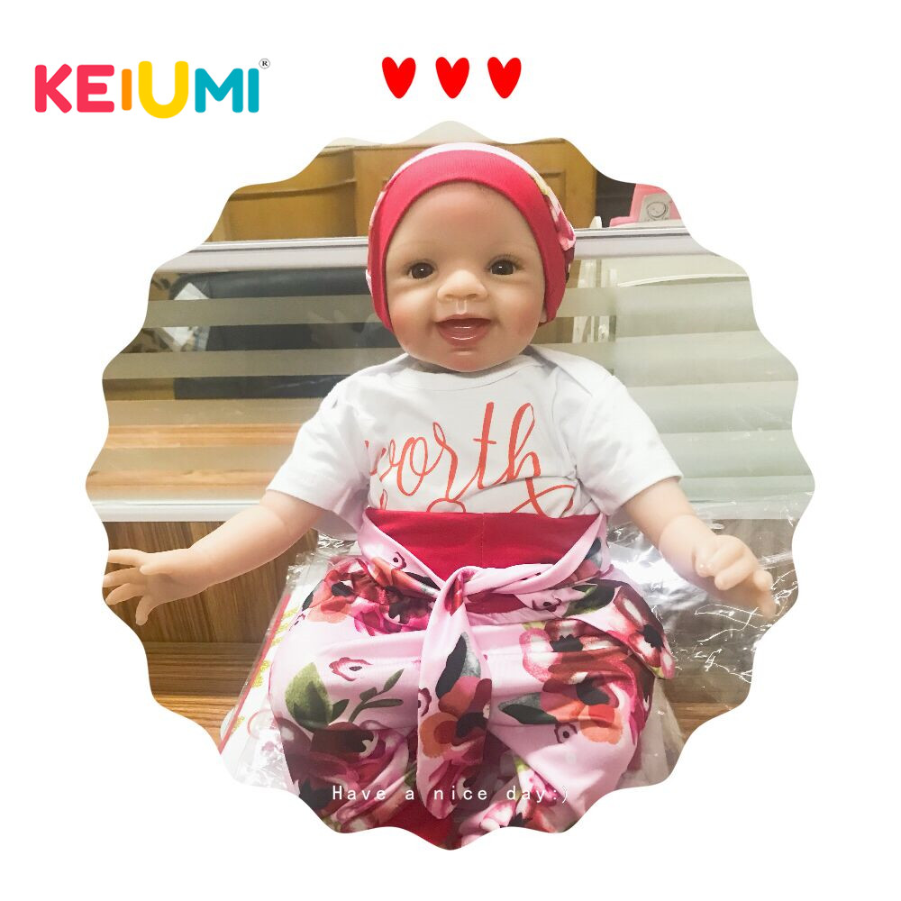 KEIUMI New Design 22 Inch Reborn Baby Doll Cloth Body Realistic Fashion Princess Baby Doll Toy For Children's Day Kid Xmas Gifts keiumi cute 22 inch reborn baby doll cloth body realistic fashion princess baby doll toy for children s day kid xmas gifts