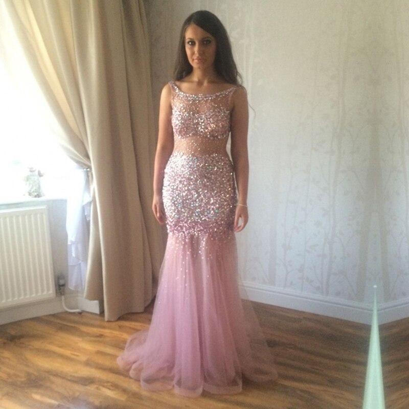 159574eeba Sexy Pink Prom Vestidos Largos Cristales Sirena Rebordear Backless de Noche  For