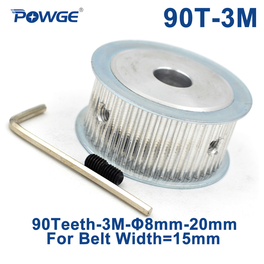 POWGE Arc 90 Teeth HTD 3M Synchronous Timing Pulley Bore 8/10/12/14/17/19/20mm for Width 15mm HTD3M Belt Wheel gear 90T 90Teeth все цены