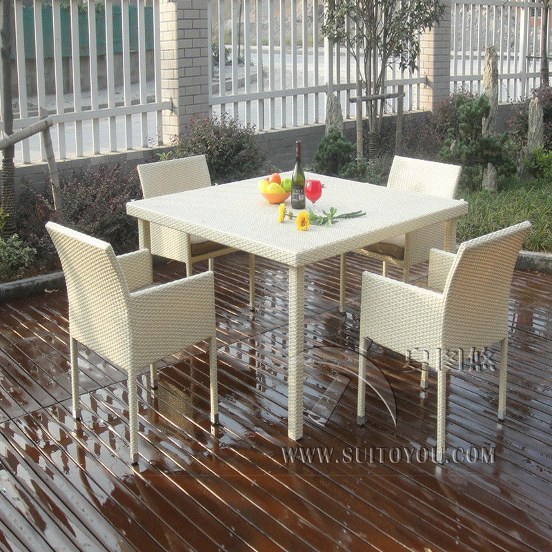 5 Pcs Excellent Rattan Garden Dining Sets For Dining Room / Conservatory Outdoor Transport By Sea