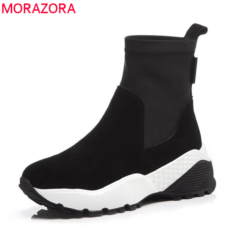 MORAZORA 2018 top quality cow suede leather ankle boots for women slip on autumn winter ladies boots fashion platform shoes martine women ankle boots flat with chelsea boots for ladies spring and autumn female suede leather slip on fashion boots